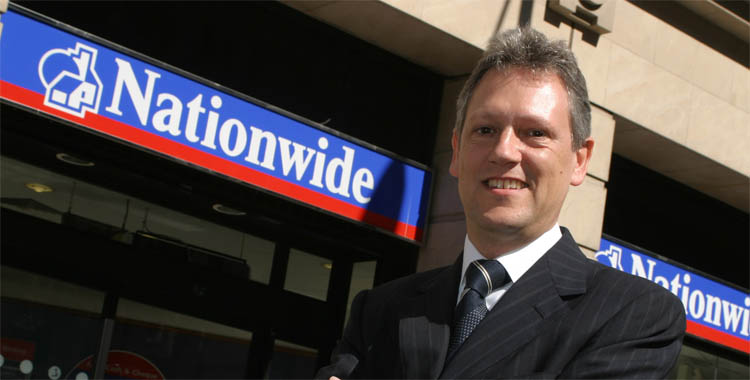 Nationwide CEO Graham Beale outside a branch