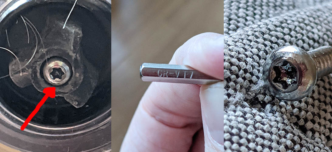 Position, required head, and portrait photo of the torx screw inside the motorised head of a Dyson DC35 handheld hoover