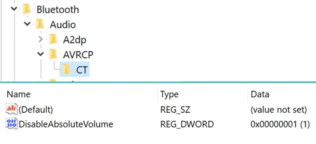 Sections of the Windows 10 registry editor relating to Bluetooth absolute volume